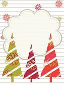 Ein Vektor Weihnachten & Neujahr-Karte mit Baum, Snow Flake, floral, Line für Weihnachten, Neujahr, & andere