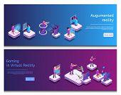 Isometric Online Communicating, Virtual Gaming. Banner Set Image Augumented Reality, Gaming In Virtu poster