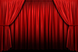 image of curtains stage  - Red stage curtain with light and shadow - JPG