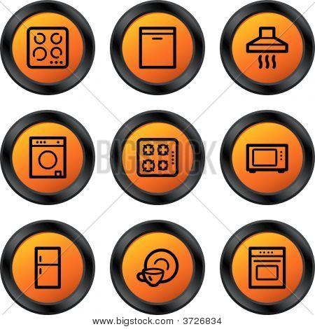 Постер, плакат: Бытовая техника иконы оранжевый круг серии, холст на подрамнике