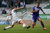 KAPOSVAR, HUNGARY - SEPTEMBER 14: Pedro Sass (in white) in action at a Hungarian National Championsh