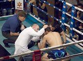 Elkun Orudzhev(blue) verwundet