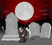 Halloween cemetery background with tombs and funny cartoon death character