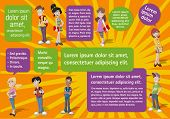 Colorful template for advertising brochure with cool cartoon young people and speech balloons. Teena