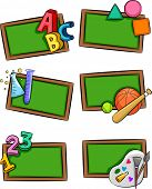 Ilustración de pizarras con letras del alfabeto, formas geométricas, herramientas de laboratorio, Sporti