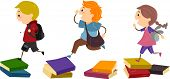 Illustration of School Kids Using Piles of Books as Stepping Stones