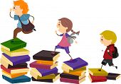 image of early-man  - Illustration of School Kids Using Piles of Books as Stepping Stones - JPG