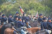 SHARPSBURG, MARYLAND - SEPTEMBER 16: Union cavalry at the 150th anniversary of the civil war battle in Antietam on September 16, 2012 in Sharpsburg, Maryland. Actual battle took place on 9/17/1862.