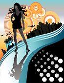 Постер, плакат: Красивая дама в отпуске