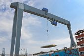 Gantry Crane On The Assembly Of The Vessel In A Shipyard