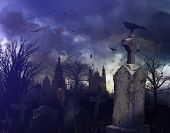Halloween night scene in a spooky graveyard