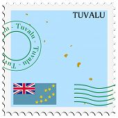 stamp with map and flag of Tuvalu