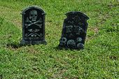 two   fake  halloween  tombsones
