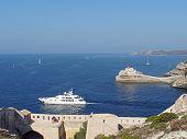Yacht Leaving Bonifacio Harbor, Corsica, France