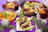 Herring Appetizer On Christmas Eve`s Table