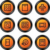 stock photo of kitchen appliance  - Vector web icons orange circle buttons series - JPG