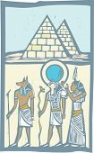 stock photo of horus  - Anubis and Horus with Pyramids Egyptian hieroglyph in woodcut style - JPG