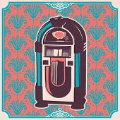 Vintage illustration with jukebox. Vector illustration.