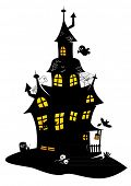 Traditional drawing of black halloween manor with monsters, bats and ghosts