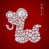 Year Of The Snake 2013, Vector Illustration Of Seamless  Shiny Diamond Snake, Eps 10