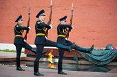 MOSCOW - SEPTEMBER 16: Hourly change of the Guard of Honor at the tomb of the Unknown Soldier at the