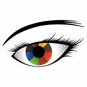 Ilustración colorida del ojo humano con Iris multicolor mostrando casi colores del arco iris y Pu negra