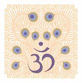 picture of sanscrit  - violet symbol om on yellow background with feathers of the peacock - JPG