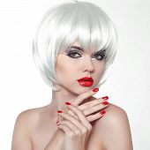 Woman Makeup And Polish Nails. Red Lips And Manicured Hands. Fashion Beauty Girl  With White Short H