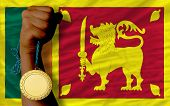Gold Medal For Sport And  National Flag Of Srilanka