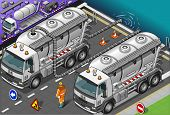 Isometric Liquid Tank Truck In Front View