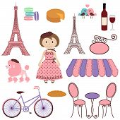 Vector Set of Cartoon Paris Themed Images