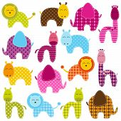 Vector-Set Patchwork Tiere