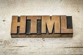 html (hyper text markup language) acronym - a word in vintage letterpress wood type on a grunge pain