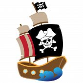stock photo of skull crossbones flag  - Vector Illustration of a Pirate Ship with Skull - JPG