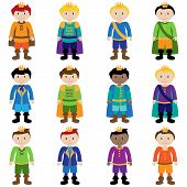 image of dwarf  - Vector Set of Cute Cartoon Princes or Kings - JPG