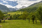 image of poo  - Naranjo de Bulnes and Pico Urriello from the viewpoint of Poo de Cabrales Asturias Spain - JPG