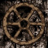 Old Rusted Wheel On Dirty Background