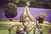 Sexy Blonde Girl Going On The Bicycle On Field