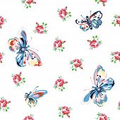 Vintage inspired vector floral seamless pattern with roses and butterflies.