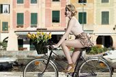 Smiling Woman On Bicycle Outdoor Sea