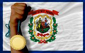Gold Medal For Sport And  Flag Of American State Of West Virginia