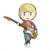 Guitar Man On White Background. Vector Design