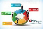 Four sided puzzle presentation template with business people silhouettes and text fields used in com