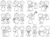 stock photo of fiance  - Cute Cartoon Stick People Wedding Themed Vectors - JPG