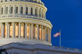 stock photo of senators  - Capitol Building dome detail at night  - JPG