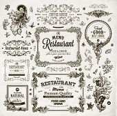 Retro set of labels for restaurant menu design. Vintage floral frames with antique flowers. Engraving hand drawn style. Detailed elements. Vector eps10 illustration.