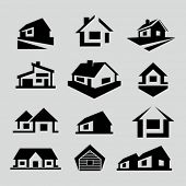 Vector house silhouette icons