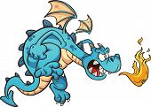 stock photo of fire-breathing  - Fire breathing cartoon blue dragon - JPG