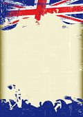 Grunge UK flag. A poster with a large scratched frame and a grunge union jack flag for your publicit