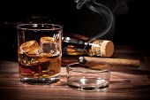 stock photo of whiskey  - Whiskey with cigar - JPG